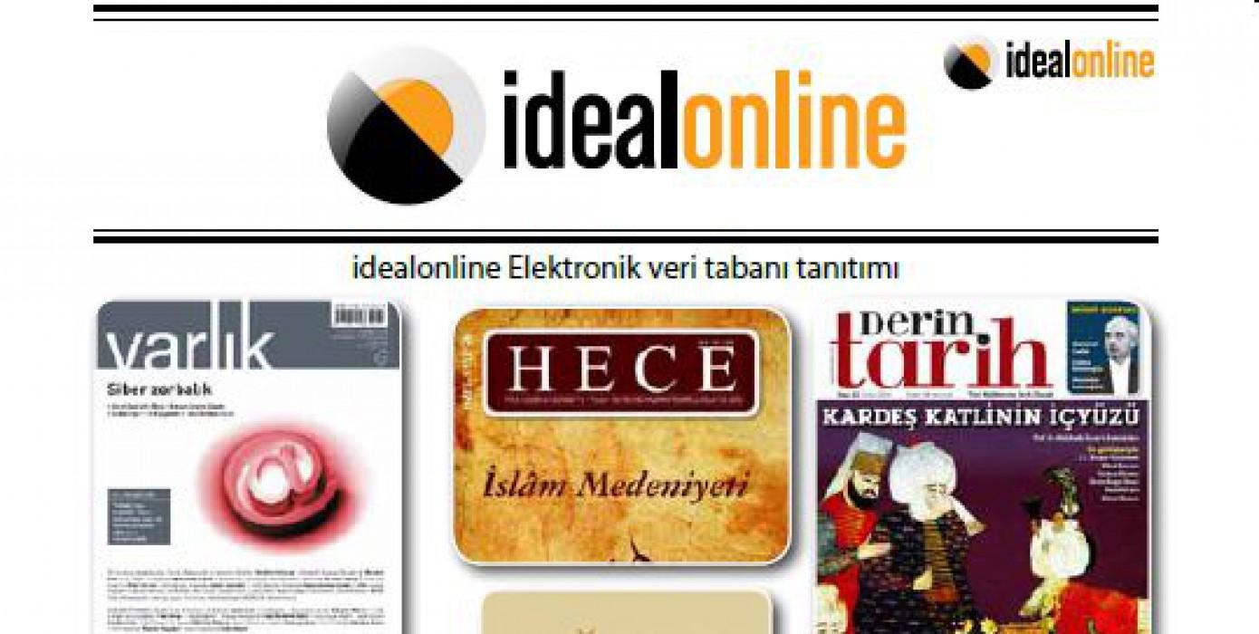 İdealonline Süreli Yayın Elektronik Veritabanı Erişime Açıldı