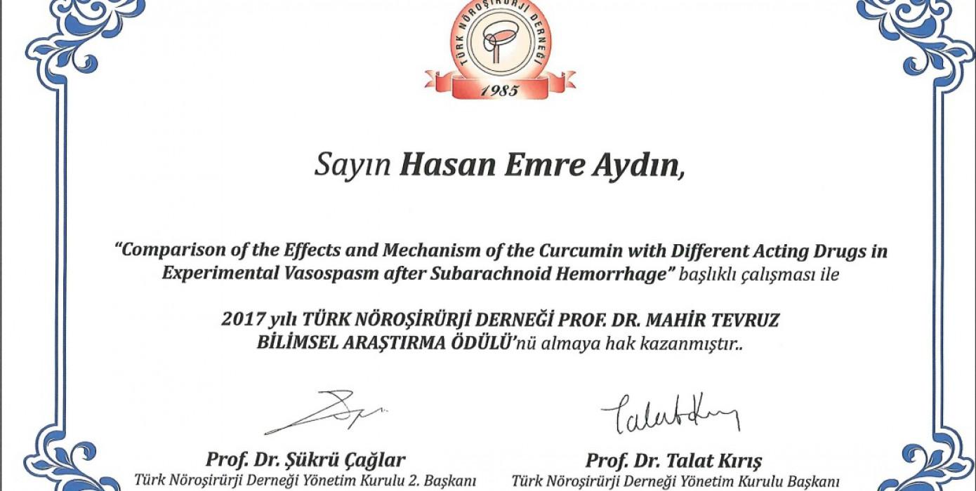 Fakültemiz Nöroşirurji (Beyin ve Sinir Cerrahisi) Öğretim Üyesi Yrd. Doç. Dr. Hasan Emre Aydın , Prof. Dr. Mahir Tevruz Bilimsel Araştırma Ödülü'nü Kazanmıştır.