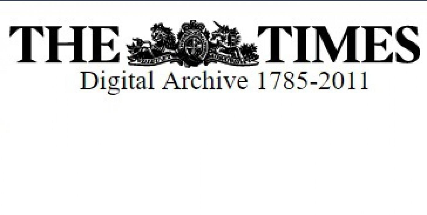 The Times Dijital Arşiv (1785-2011) Koleksiyonu Erişime Açılmıştır.
