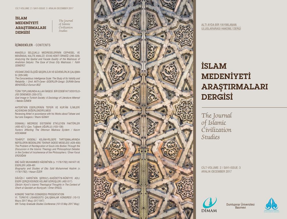 İslam Medeniyeti Araştırmaları Dergisi (İmad) Yeni Sayı Yayımlandı