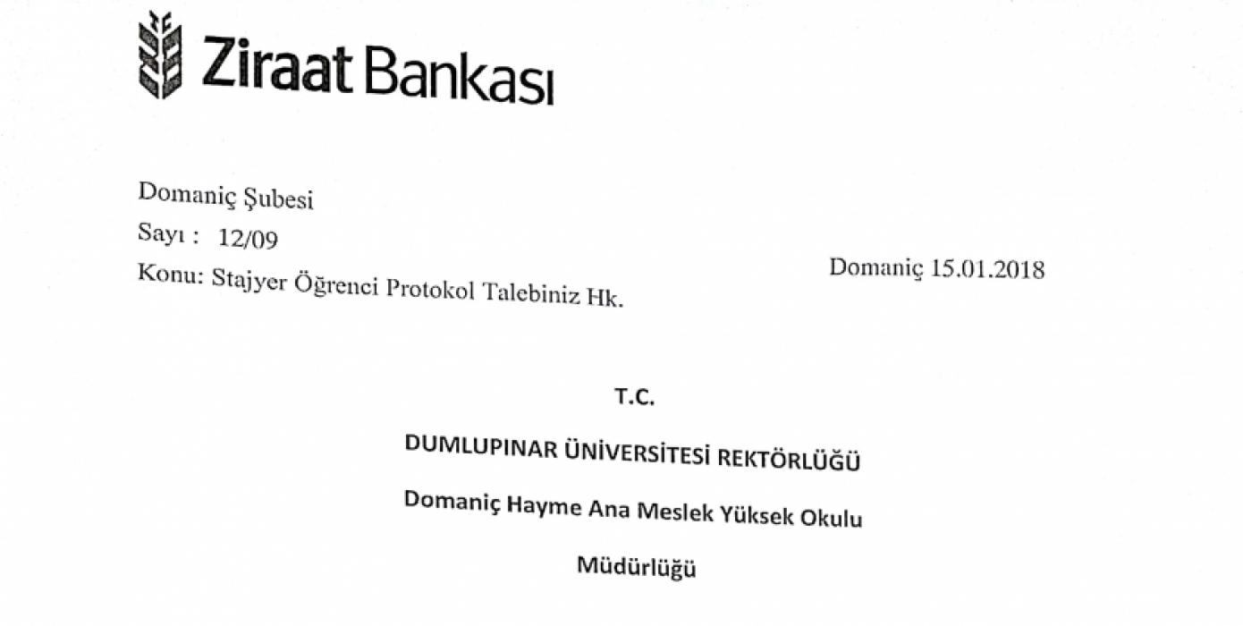 Ziraat Bankası Domaniç Şubesi- Domaniç Hayme Ana MYO İş Birliği Protokolü