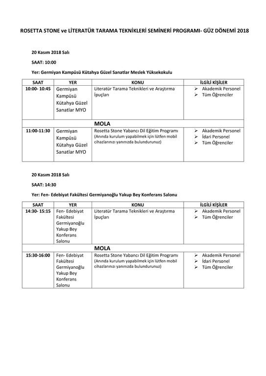 Rosetta ve Kullanıcı Eğitim Semineri