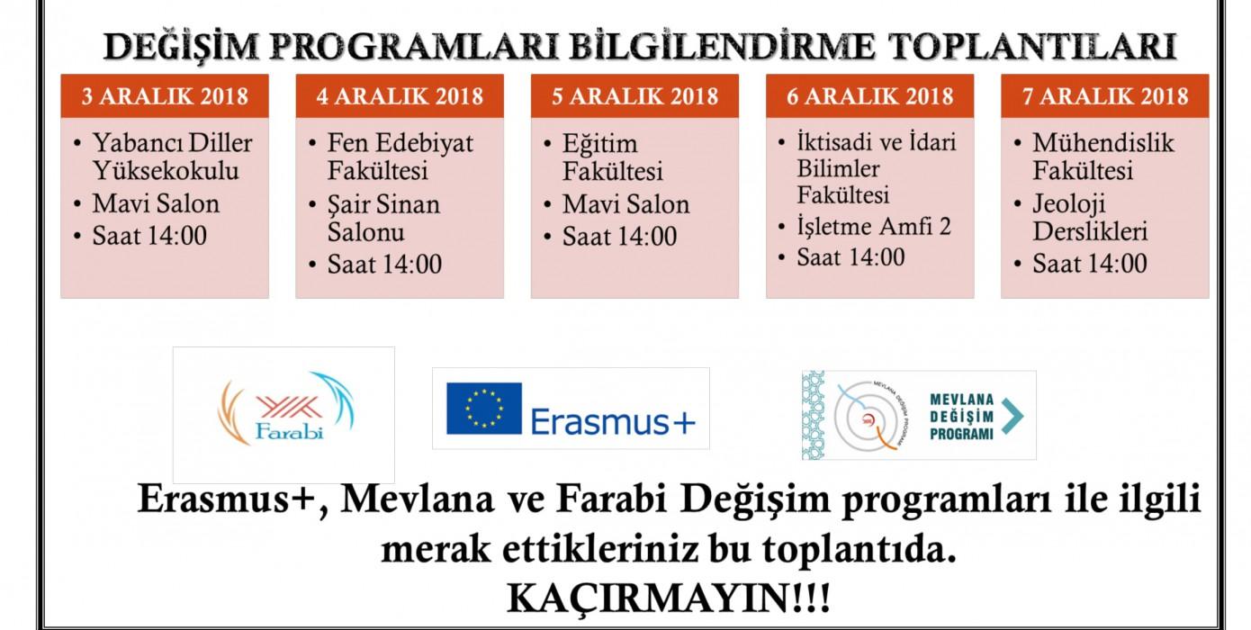 Değişim Programları Öğrenci Bilgilendirme Toplantıları!