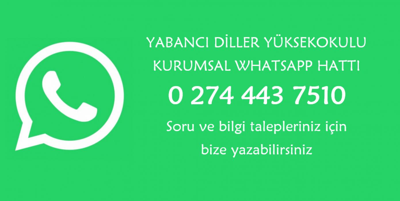 Yabancı Diller Yüksekokulu Kurumsal Whatsapp Hattı Değişti!