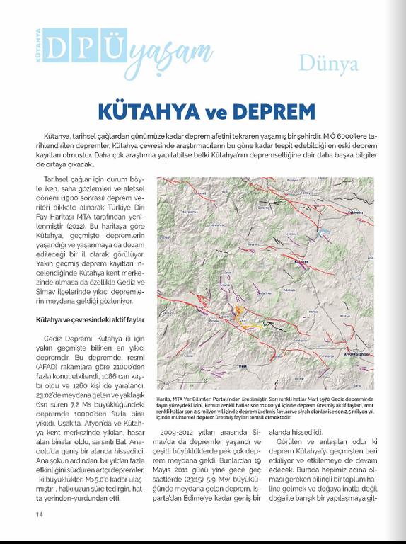 """""""Kütahya ve Deprem"""" Başlıklı Yazım (Kütahya Dumlupınar Üniversitesi Yaşam Dergisi 3. Sayısı)"""