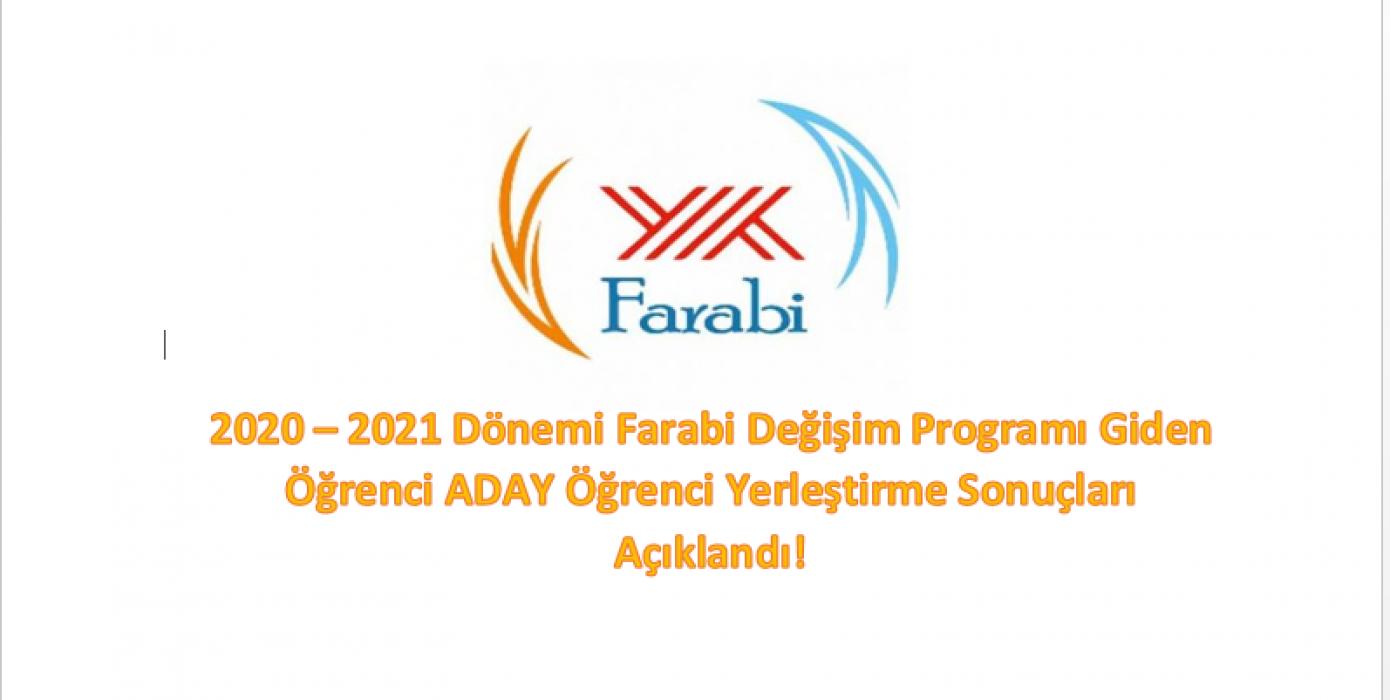 2020-2021 Dönemi Farabi Değişim Programı Giden Öğrenci Aday Yerleştirme Sonuçları Açıklandı!