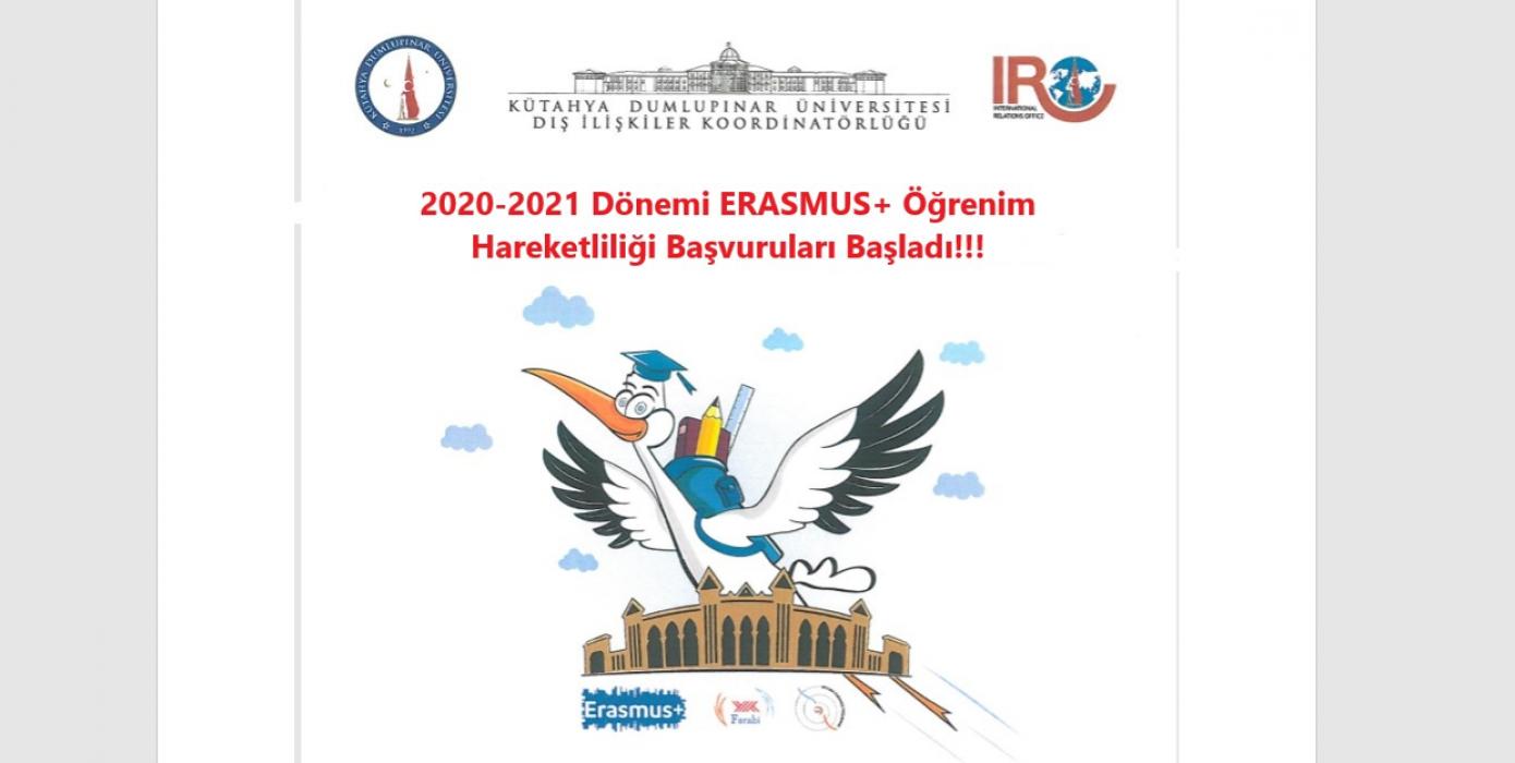 2020 -2021 Dönemi Erasmus+ Öğrenci Öğrenim Hareketliliği Başvuruları Başladı!