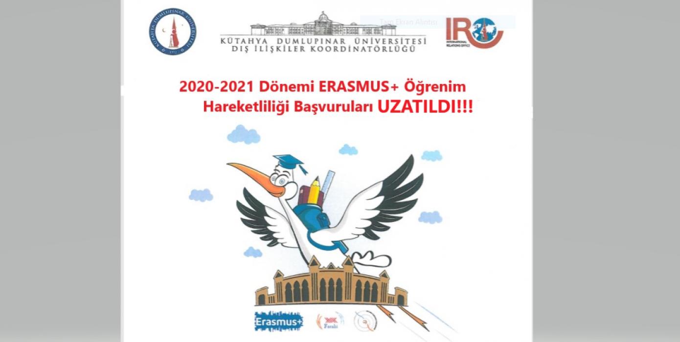 2020-2021 Erasmus+ Öğrenim Hareketliliği Başvuruları Uzatıldı!!!