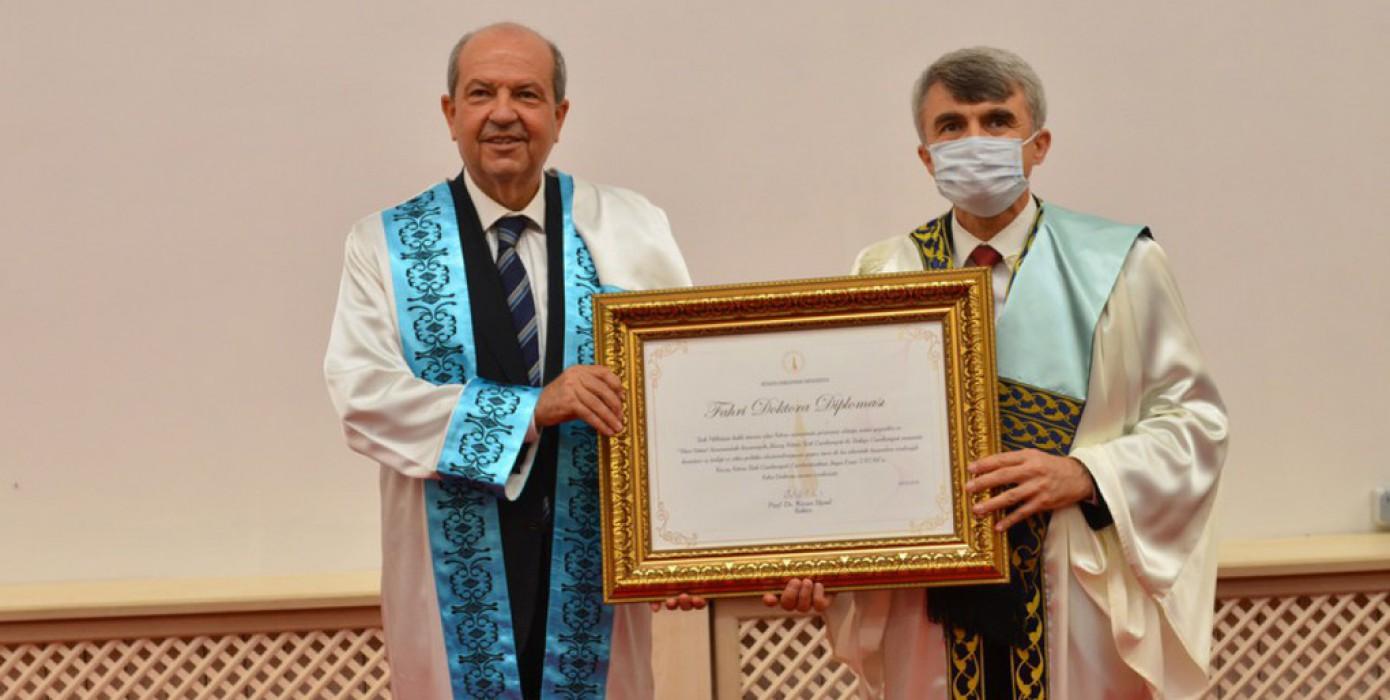 Üniversitemizden KKTC Cumhurbaşkanı Sayın Ersin Tatar'a Fahri Doktora Unvanı